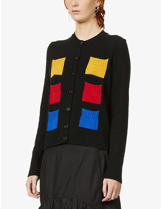 Benetton Block intarsia wool-blend cardigan