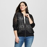 Ava & Viv Women's Plus Size Lace Bomber Jacket Black