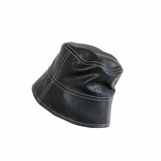 ACVIP Women's PU Leather Bucket Hats Waterproof Rain Hat Fishermen Cap (B-Black)
