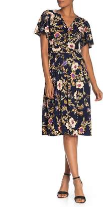 Eliza J Superfoxx Flutter Sleeve Knotted Dress