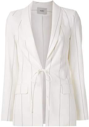 Egrey pinstripes tied blazer