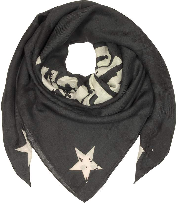 Givenchy Black Wool and Silk Signature Print Wrap