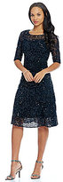 Kay Unger Sequin lace Midi Dress