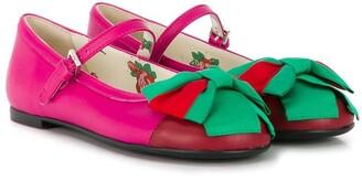 Gucci Kids Bow Detail Ballerinas