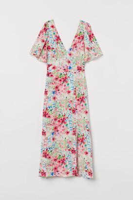 H&M Butterfly-sleeved Dress - Beige