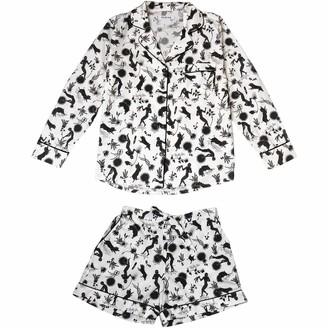 Phriya Women's White Odyssey Pajama Set With Shorts