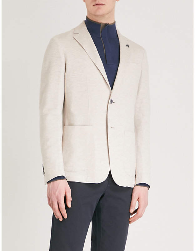 Canali Tailored-fit linen and cotton-blend jacket