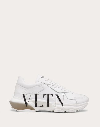 Valentino Vltn Bounce Sneaker In Calfskin Leather Women White/ Black Calfskin 100% 35.5
