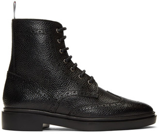 Thom Browne Black Classic Wingtip Rubber Sole Boots