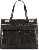 1980s Crocodile-Embossed Tote Bag