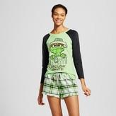 Sesame Street Women's Grouchy Pants Long Sleeve Tee/Boxer Pajama Set