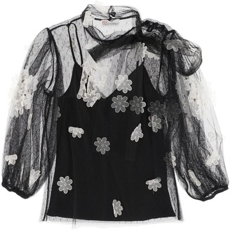 RED Valentino Flowers Embroidered Tulle Top