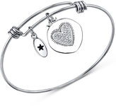 "Unwritten Learn from Yesterday"" Pavé Heart Charm Bangle Bracelet in Stainless Steel"