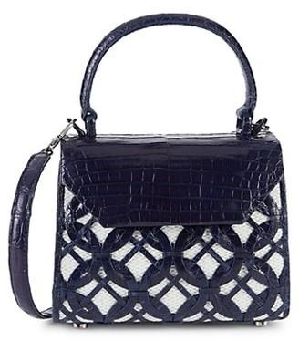 Nancy Gonzalez Mini Lily Croc Leather Raffia Crossbody Bag