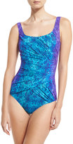 Gottex Chameleon Printed One-Piece Swimsuit, Turquoise/Purple