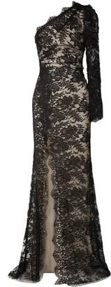 Monique Lhuillier One-shoulder Cotton-blend Chantilly Lace Gown