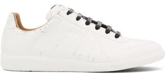 Maison Margiela Replica Crack-effect Leather Trainers - White Multi