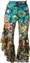Marques Almeida Marques'almeida - floral cropped flared trousers - women - Silk/Polyester/Polyurethane - 10
