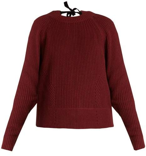 Muveil Tie Back Cable Knit Cotton Blend Sweater - Womens - Burgundy