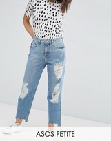 Asos Original Mom Jean in Phoebe Wash with Rips and Stepped Hem