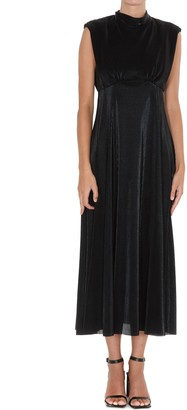 MSGM Tie-Neck Sleeveless Midi Dress