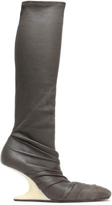 Rick Owens Gathered Stretch-leather And Suede Sock Boots