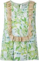 L'Autre Chose lace trim printed top - women - Silk - 44