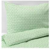 Ikea Rodved Twin Duvet Cover and Pillowcases, White and Green