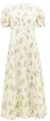 Miu Miu Floral Crystal-embellished Velvet Dress - Ivory Multi