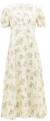 Miu Miu Floral Crystal-embellished Velvet Dress - Womens - Ivory Multi