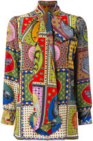 Gucci print neck bow shirt - women - Silk - 42