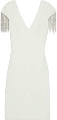 Badgley Mischka Crystal-embellished Stretch-cady Dress