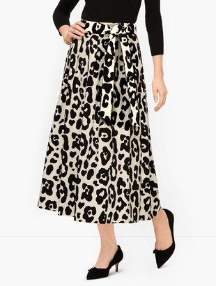 Talbots Pleated Tie Waist Leopard Skirt