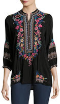 Johnny Was Sarabeth 3/4-Sleeve Georgette Tunic, Petite