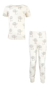 Touched by Nature Little Girls and Boys Birch Trees Tight-Fit Pajama Set, Pack of 2