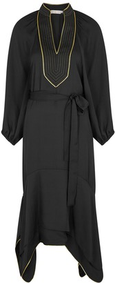Tory Burch Black belted crepe de chine midi dress