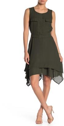 Max & Ash Asymmetrical Hem Crepe Dress