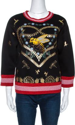 Gucci Black Laminated Heart Felt Jersey Sweatshirt XXS
