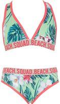 River Island Girls Green tropical triangle bikini set