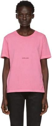 Saint Laurent Pink Rive Gauche Logo T-Shirt