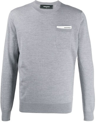 DSQUARED2 Logo-Pocket Fine-Knit Jumper