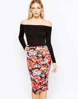 Club L Bardot Midi Dress with Rose Print Skirt