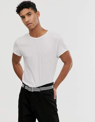 Cheap Monday t-shirt in reverse stitch white