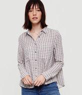 Lou & Grey Plaid Cropped Button Down Shirt