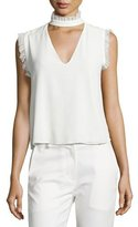 Alexis Lilibeth Ruffle-Trim Sleeveless Silk Choker Top, White