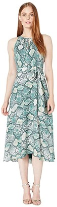 Tahari ASL Sleeveless Printed Georgette Python Pattern Dress (Green Neutral Snake) Women's Clothing