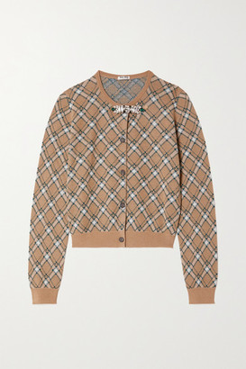 Miu Miu Crystal-embellished Checked Wool Cardigan - Brown