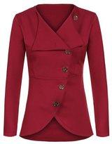 Suvimuga Women Surplice Single Breasted Irregular Lapel Neck Long Sleeve Jacket Outwear M