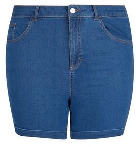 Dorothy Perkins Womens **Dp Curve Blue Mid Wash Denim Shorts, Blue