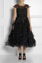 Marchesa Appliquéd tulle gown